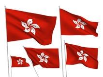Флаги вектора Гонконга Стоковая Фотография