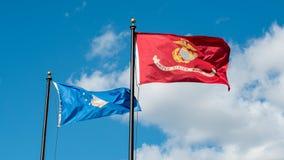 Флаги военновоздушной силы и морской пехот Стоковые Изображения