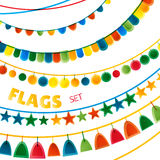 Флаги гирлянд праздника цветов радуги яркие установили на белую предпосылку, вектор Стоковое фото RF