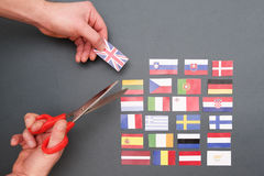Флаги европейца и флаг Великобритании Стоковое Фото
