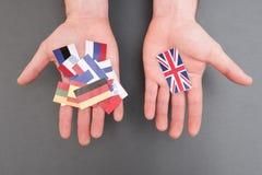 Флаги европейца и флаг Великобритании Стоковое Изображение
