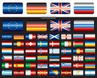 Флаги европейца 48 на черноте Стоковая Фотография RF