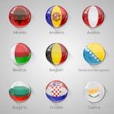Флаги европейца установили лоснистые кнопки с длинными тенями. Стоковые Фото