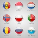 Флаги европейца установили лоснистые кнопки с длинными тенями. Стоковое Изображение RF