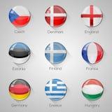 Флаги европейца установили лоснистые кнопки с длинными тенями. Стоковое Фото