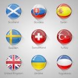 Флаги европейца установили лоснистые кнопки с длинными тенями. Стоковое Изображение