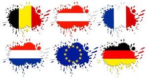 Флаги европы как пятна стоковые