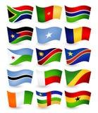 Флаги летания страны Африки установили часть 2 Стоковое Изображение