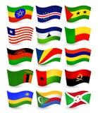 Флаги летания страны Африки установили часть 3 Стоковая Фотография RF