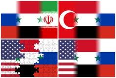 Флаги индюка США Сирии России Ирана Стоковая Фотография RF