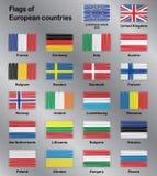 Флаги комплекта вектора стран Европы Стоковая Фотография