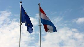 Флаги Люксембурга и Европейского союза сток-видео