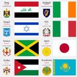 Флаги и столицы мира установили 11 иллюстрация вектора