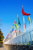 Флаги мира перед ЮНЕСКО в Париже Стоковое Фото