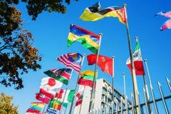 Флаги мира перед ЮНЕСКО в Париже Стоковые Фотографии RF
