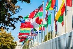 Флаги мира перед ЮНЕСКО в Париже Стоковая Фотография