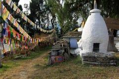 Флаги молитве на монастыре Tashiding Стоковые Изображения