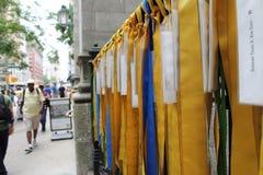 Флаги на обнести Нью-Йорке Стоковое фото RF
