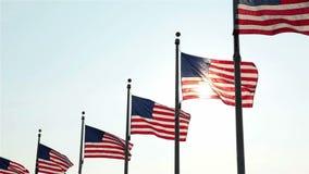 Флаги на памятнике Вашингтона, Вашингтоне, DC акции видеоматериалы