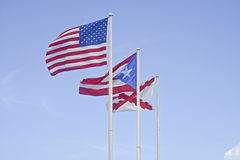 Флаги на форте San Cristobal, Пуэрто-Рико Стоковое Изображение