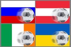Флаги от 4 стран и футболов завальцовки Стоковое Фото