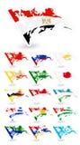 Флаги плохого состояния Азии 4 Стоковое Изображение