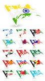 Флаги плохого состояния Азии Set1 Стоковые Фото