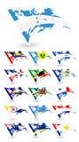 Флаги плохого состояния комплекта 2 Северной Америки Стоковое фото RF