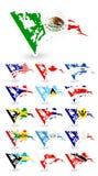 Флаги плохого состояния Северной Америки Стоковое фото RF