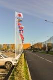 Флаги различных стран вдоль дороги Стоковое Изображение RF