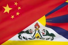 Флаги свободных Тибета и Китая Стоковая Фотография RF