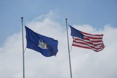 Флаги штат Нью-Йорк Америки стоковые фотографии rf