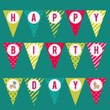 Флаги для дизайна партии день рождения счастливый Треугольники с надписью Стоковые Фото