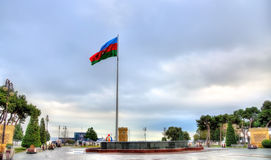 Флаг Азербайджана в Баку стоковое фото