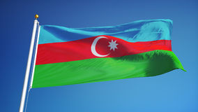 Флаг Азербайджана в замедленном движении плавно закрепил петлей с альфой иллюстрация вектора