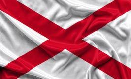 Флаг Алабамы - скомканная предпосылка ткани, обои Стоковые Фотографии RF