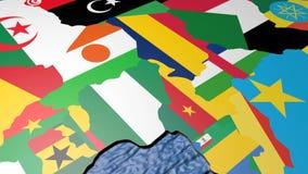 Флаг Алжира на карте 3d сток-видео
