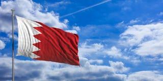 Флаг Бахрейна на предпосылке голубого неба иллюстрация 3d Стоковые Фото