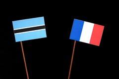Флаг Ботсваны с французом сигнализирует изолированный на черноте Стоковое Изображение