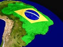 Флаг Бразилии от космоса Стоковое Фото
