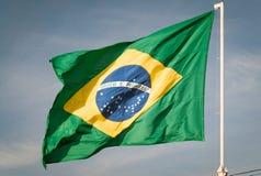 Флаг Бразилии поднял Стоковая Фотография