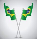 Флаг Бразилии развевая Стоковое Фото