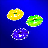 Флаг Бразилии цветов губ иллюстрация штока