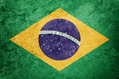 Флаг Бразилии Grunge Бразильский флаг с текстурой grunge Стоковые Изображения