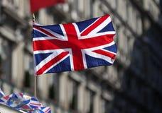 Флаг британцев на ветре Стоковая Фотография RF