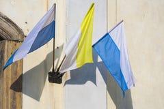 Флаг Ватикана в ветре Стоковые Изображения
