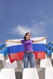 Флаг вентилятора спорт девушки развевая Стоковые Фото
