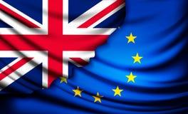 Флаг Великобритании быть tron далеко от флага EC Концепция Brexit Стоковые Фотографии RF