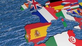Флаг Великобритании на карте 3d видеоматериал