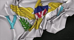 Флаг Виргинских Островов (Американские) сморщенный на темной предпосылке 3D иллюстрация штока